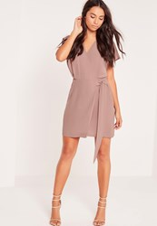 Missguided Kimono Sleeve Wrap Tie Front Dress Nude Beige