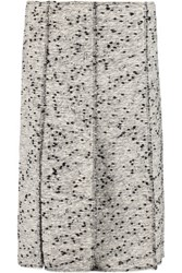 Nina Ricci Frayed Cotton Blend Boucle Skirt White