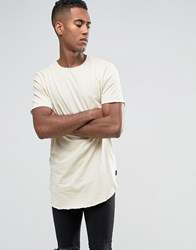 Jack And Jones Longline T Shirt With Curved Hem Bleached Sand Beige