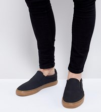 Asos Wide Fit Slip On Plimsolls In Black With Gum Sole