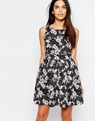 Wal G Skater Dress In Floral Print Blackand Wh