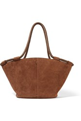 The Row Market Small Leather Trimmed Suede Tote Brown