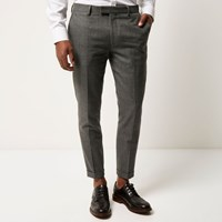 River Island Mens Grey Check Skinny Crop Trousers