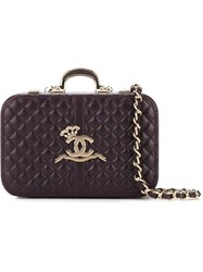 Chanel Vintage Quilted Box Clutch Pink And Purple