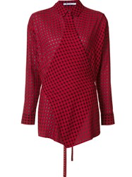 Alexander Wang T By Checked Wrap Style Shirt Red