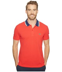 Lacoste Short Sleeve Semi Fancy Bold Stripe Collar Polo Regular Grenadine Men's Short Sleeve Pullover Red