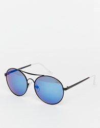 Jeepers Peepers Round Mirror Sunglasses Blue