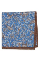 Bonobos Bird Print Wool Pocket Square Sitting Birds Royal