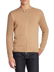 Eleventy Ribbed Zip Front Cardigan Camel