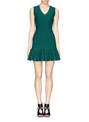Azzedine Alaia 'Damascus' Flower Jacquard Knit Flounce Dress Green