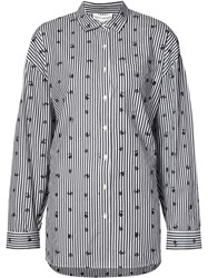 Robert Rodriguez Printed Stripe Shirt Black