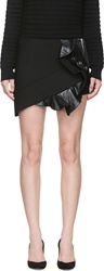 Anthony Vaccarello Black Leather And Wool Ruffle Skirt