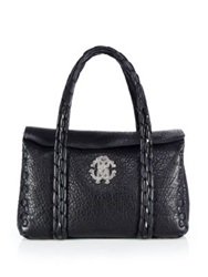 Roberto Cavalli Pebbled Leather Satchel Black