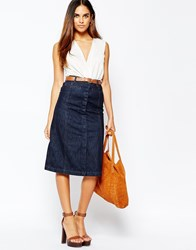 Warehouse Midi A Line Skirt Darkwash