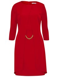 Gina Bacconi Layered Moss Crepe Dress With Chain Trim