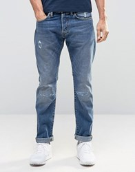 Edwin Ed 55 Tapered Jeans With Distressing Broken Wash Blue