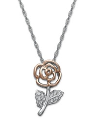 Macy's Diamond Flower Pendant Necklace In Sterling Silver And 14K Rose Gold 1 10 Ct. T.W.