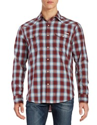 Lucky Brand Santa Fe Western Snap Button Shirt Red Blue