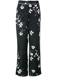 Closed Floral Print Trousers Black