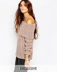 Stitch And Pieces Space Dye Marl Knitted Jumper With Cowl Neck Pink
