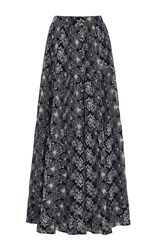 Co High Waist Embroidered Maxi Skirt Print
