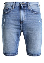 Pier One Denim Shorts Mid Blue Destroy Dark Blue Denim