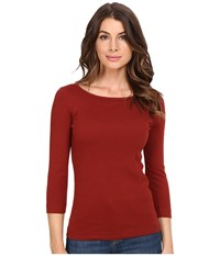 Three Dots 3 4 Sleeve British Tee Adobe Brick Women's Long Sleeve Pullover Red