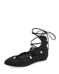 Sigerson Morrison Elias Suede Lace Up Flat Black