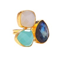 Ottoman Hands Labradorite White And Aqua Chalcedony Three Stone Ring White Gold Green