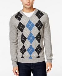 Club Room Cashmere Argyle V Neck Sweater Only At Macy's Grey Heather
