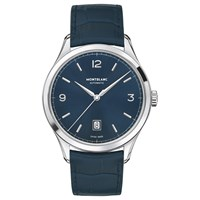 Montblanc Men's Leather Strap Watch Blue Silver