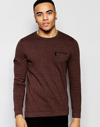 Asos Cotton Jumper With Chest And Arm Zip Pocket Navy And Tan Brown