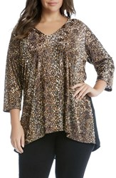 Karen Kane Plus Size Women's Leopard Burnout Top