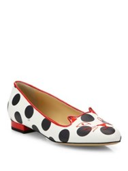 Charlotte Olympia Kitty Polka Dot Leather Flats White Red