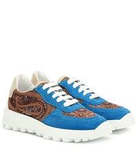 Etro Paisley Suede Trimmed Sneakers Multicoloured