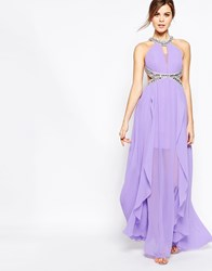 Forever Unique Shayla Maxi Dress With Embellished Halter Neck Detail Lilac