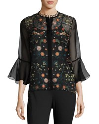 Elie Tahari Rienna Bell Sleeve Embroidered Sheer Blouse Black