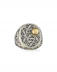Marco Ta Moko Ara Carved Signet Ring With 18K Gold And Diamond Detail