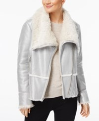 Inc International Concepts Petite Faux Suede Aviator Jacket With Faux Fur Trim Created For Macy's Silver