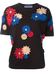 Emanuel Ungaro Flower Appliqua T Shirt Black