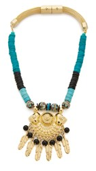 Holst Lee Mojave Feather Necklace Blue Multi