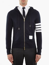 Thom Browne Navy Cotton Striped Sleeve Hoodie