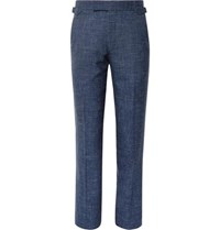Richard James Storm Blue Seishin Slim Fit Slub Wool And Linen Blend Suit Trousers