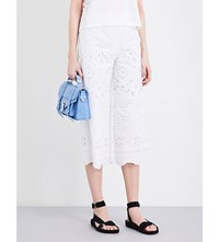 Red Valentino Floral Cutout Cropped Cotton Trousers Bianco