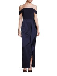 Laundry By Shelli Segal Platinum Off The Shoulder Satin Gown Midnight