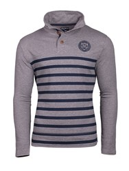 Raging Bull Men's Big And Tall Stripe Button Neck Sweat Grey