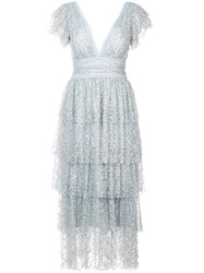 Marchesa Notte Tiered Sequinned Dress Grey