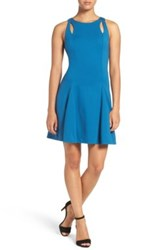 Ali And Jay Cutout Ponte Fit Flare Dress Blue