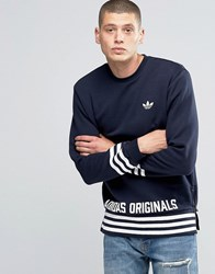 Adidas Originals Street Pack Crew Sweatshirt In Blue Az1126 Blue