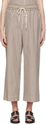 3.1 Phillip Lim White And Brown Striped Wide Leg Trousers